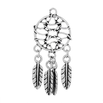 DoreenBeads Farmec Pandantive Pene Dream Catcher Argint Antic Gol 46mm(1 6/8