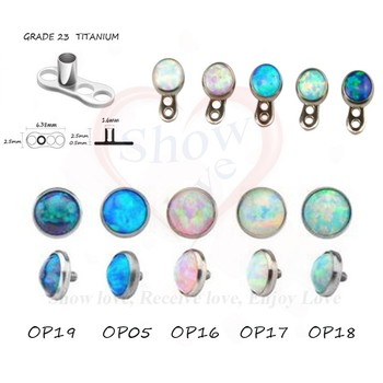 Showlove 5pcs Opal Gem interior de Ancorare Dermic Piercing 4mm Gem Cap Piercing Bijuterii Transport Gratuit